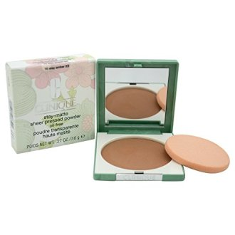 Clinique WomenS Stay-Matte Sheer Pressed Powder, 10 Stay Amber, Dry Combination To Oily, 0.27 Ounce