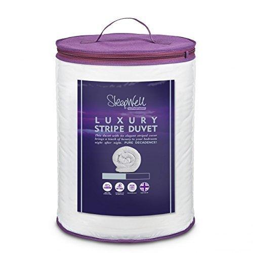 Slumberdown Sleepwell Luxury Stripe 10.5 Tog Duvet, White, Single