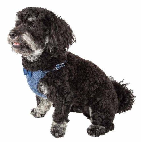 Pet Life HA60BLMD Flam-Bowyant Mesh Reversible & Breathable Adjustable Dog Harness with Designer Bowtie, Navy - Medium