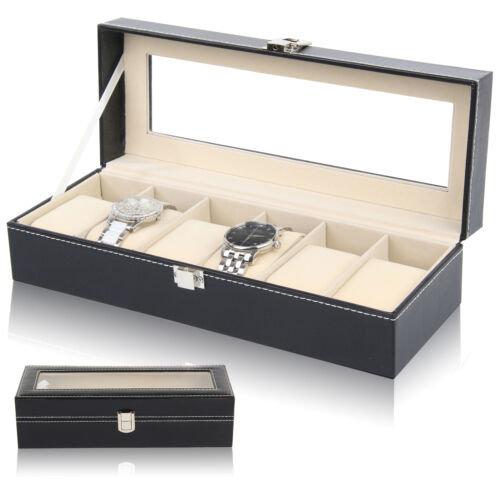 NEW 6 Watch Display Case Faux Leather Storage Jewellery Box Bracelet Tray