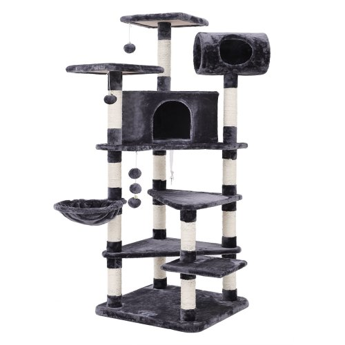 SONGMICS Multi-level Large Cat Tree Cat Furniture Cat Play House Smoky Grey PCT17G