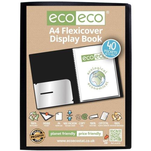 1 x A4 Flexicover 40pkt (80 Views) Presentation Display Book - Black