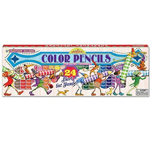 eeBoo Jumbo Colored Pencils, Striped, Set of 24