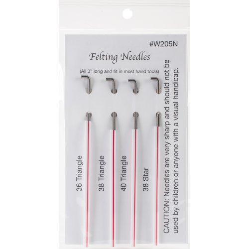 Wistyria Editions Felting Needles 4/Pkg-Size 36, 38 & 40 Triangle, Size 38 Star