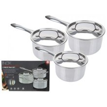 16cm, 18cm And 20cm 'inox' Stainless Steel Tri-ply 3 Set Pan Set. -