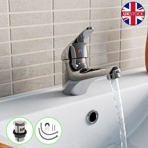 Chrome Mono Basin Mixer Tap & Clicker Plug | Single Lever Bathroom Tap