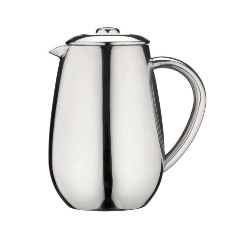 Café Olé Cafetiere Stainless Steel 8-Cup (1 L) Capacity, Double Wall Insulated Twist Lid Close Spout Cool Touch - Mirror Finish