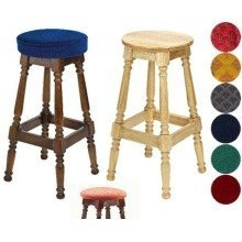 Tamara Wood Bar Stool - Padded / Unpadded Unpadded Polished Wood Button Seat Dark Oak