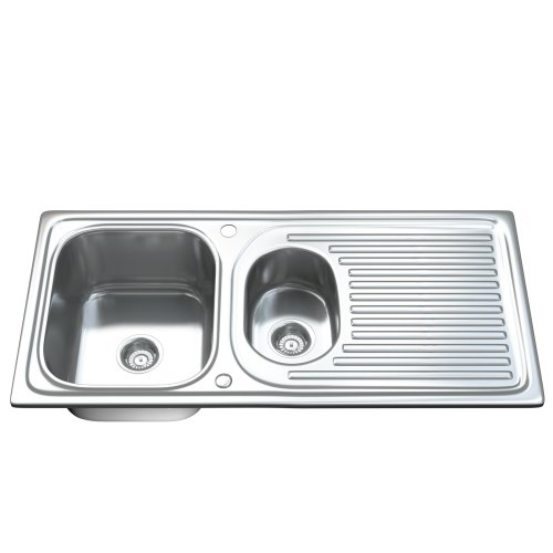 Dihl 1502 1.5 One & Half Bowl Stainless Steel Kitchen Sink, Drainer & Waste