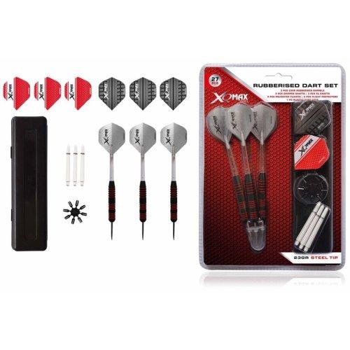 XQmax Darts 27 Piece Rubberised Throwing Fly Dart Set 23g Steel Tip QD7000660