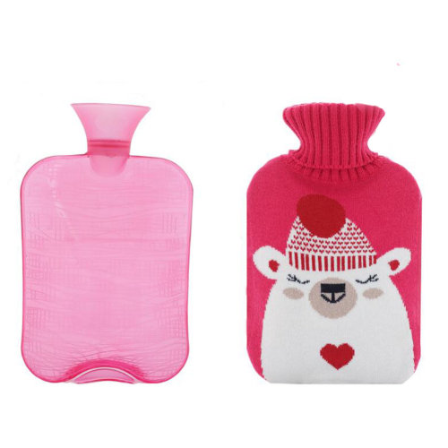 2 Liter Hot Water Bottle with Pink Knit Cover - Good Gift for Winter