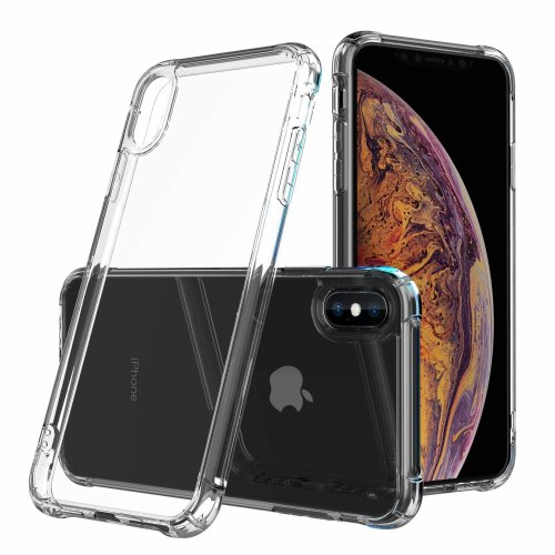 cheap for discount 78599 ec6a2 HZRICH iPhone Xs Max Case, Clear Shockproof Bumper Case With[Glass Screen  Protector] Soft TPU Silicone Case Cover[Drop Protection] Crystal Gel Case...
