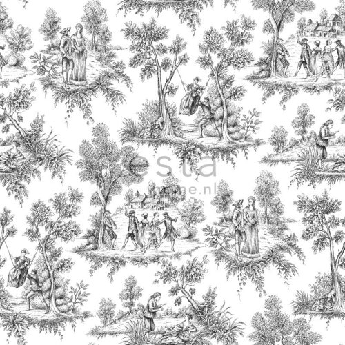 wallpaper toile de Jouy black - 136820