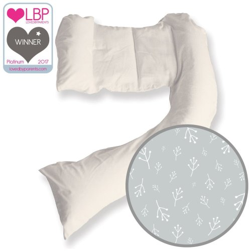 DreamGenii Floral Grey Cotton Pregnancy Support and Feeding Pillow