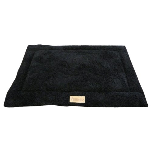 Ellie-Bo Sherpa Fleece Mat Bed in Black - Fits Large 36 Inch Cages and Crates