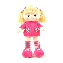 """Linzy Paola Rag Doll with Short Dress and High Striped Socks, Magenta 16"""""""