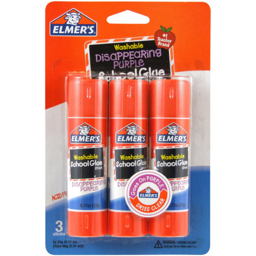 Elmer's Washable School Glue Stick - Purple 3/Pkg-.77oz