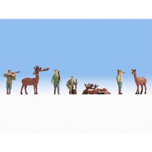 Hunters (4) & Deer (3) - OO/HO figures - Noch 15731 - free post