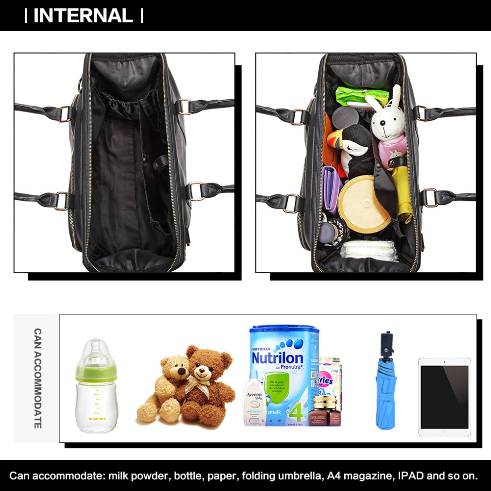 29be6c108aa35 ... Miss Lulu 3 Pieces Baby Nappy Diaper Changing Bag PU Leather Black - 7  ...
