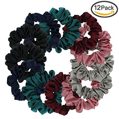 Satin Scrunchies, Yogaily Set of 12 Soft Ponytail Holder Bobbles Hair Scrunchy Vintage Hair Bands Ties for Women Girls