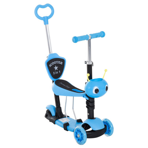 HOMCOM 5-in-1 Kids Toddler 3 Wheels Mini Kick Scooter Push Walker with Removable Seat & Back Rest for Girls and Boys Blue