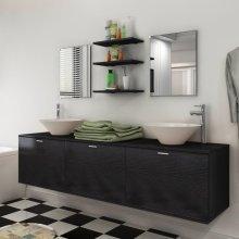 vidaXL Eight Piece Bathroom Furniture and Basin Set Black