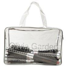 Olivia Garden ProThermal® Thermal Round Hair Brushes Bag, 5pcs (16, 25, 33, 43, 53mm) - Heat-Retaining Aluminum & Anti-Static Bristles