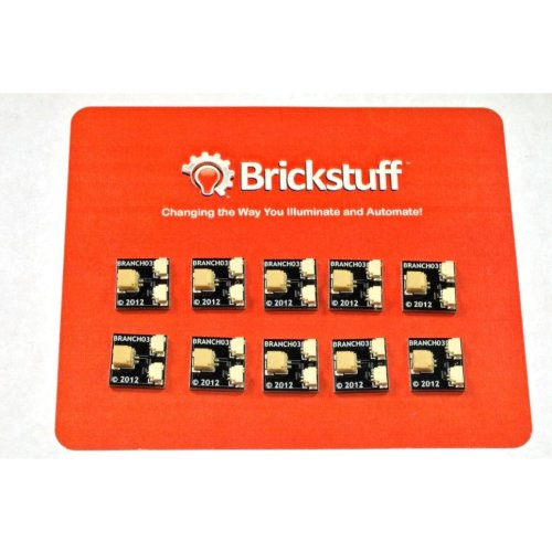 Brickstuff 10-Pack, BRANCH03 Boards Pico LED 1:2 Adapters - BRANCH03-10PK