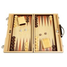 15-inch Wood Backgammon Set - Zebra Wood - Board Games