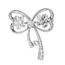 2PCS Womens Elegant Brooches and Pins With Clear Crystals, Silver Bow Shape