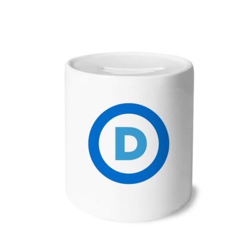 America Emblem Democratic Party Blue Money Box Saving Banks Ceramic Coin Case Kids Adults