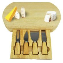 Slide Out Drawer Wooden Cheese Board & Knife Service Set with Specialist Knives[Oval Cheese Board]
