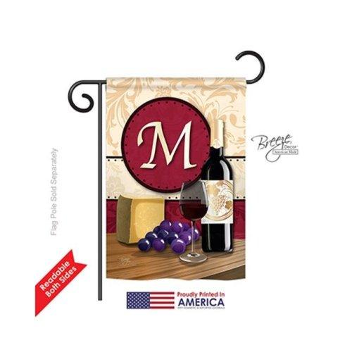 Breeze Decor 80221 Wine M Monogram 2-Sided Impression Garden Flag - 13 x 18.5 in.