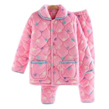 Women Pajamas Warm Thick Cotton Winter Suit Modern Set Sleepwear/Nightwear Clothes for Home, #R