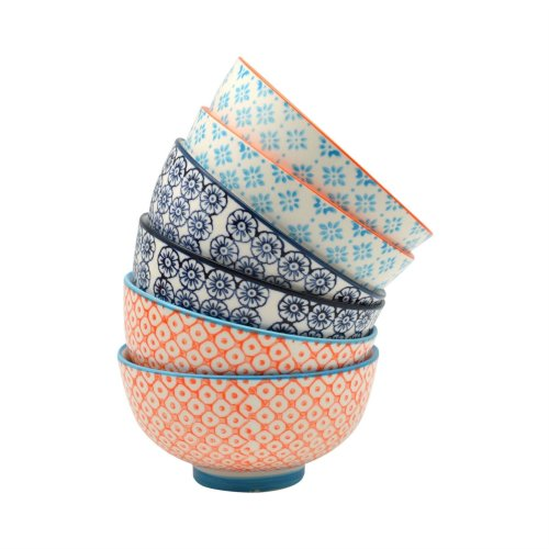 Nicola Spring Patterned Rice/Dessert Bowls - 114mm (4.5 Inches) - Box of 6 Individual Designs