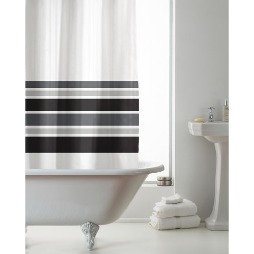 Country Club Hookless Shower Curtain, Black Stripe