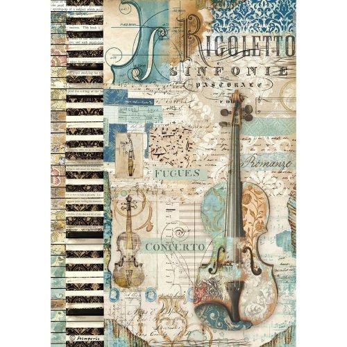 Stamperia Rice Paper Sheet A4-Music Violin