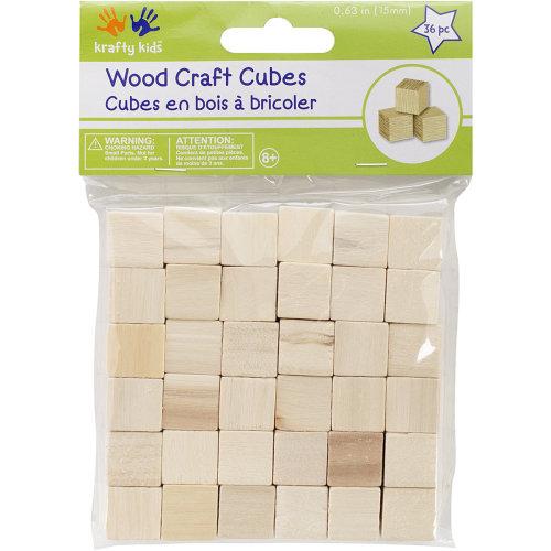 "Craftwood Cubes .625"" 36/Pkg-Natural"