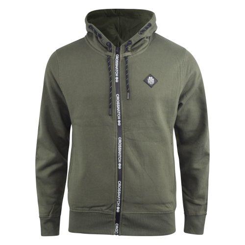 Mens crosshatch hoodie sweatshirt full zip thru