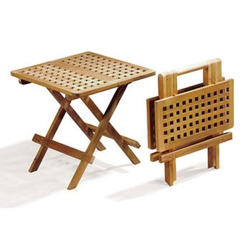 Folding Square Teak Picnic Garden Patio Outdoor Table With Handle