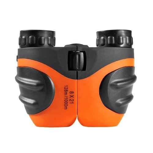 Yiran Rubber 8x21 Adjustable Mini Lightweight Binoculars for Kids, Best Christmas Gifts for Children (Orange)