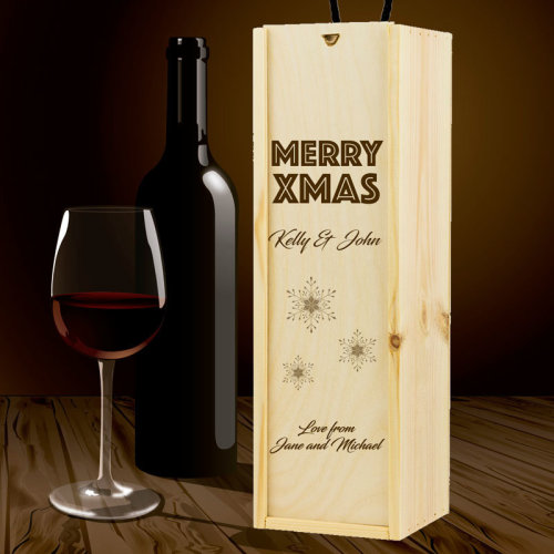 Personalised Wooden Wine Box Christmas Message