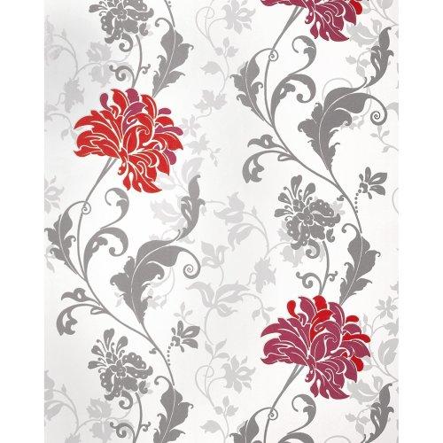 EDEM 833-25 luxury floral design flowers wallpaper red white grey 2.3 ft