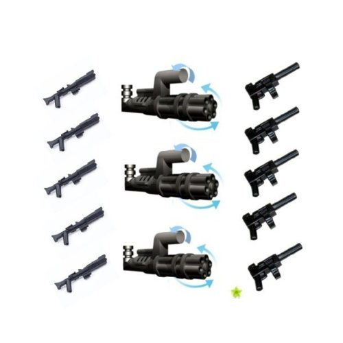 LEGO Star Wars / Little Arms Weapon Set : 3 x Minigun Pathmaker (Z -6  rotary blaster) and 5 x Tommy Gun (submachine gun) and 5 x Rifle for  Clone