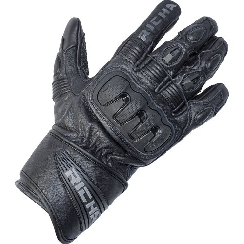 Richa Dark Short Cuff Leather Motorcycle Gloves