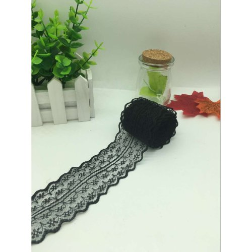 Yulakes 2 x 10 meters Vintage lace band 4.5cm width, lace border Lace border band ; decor band, craft, sanding belt (black)