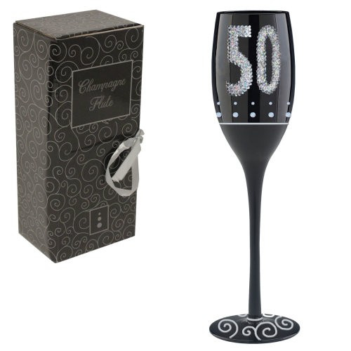 Black & Silver Champagne Flute with Frosted Stem - 50th Birthday