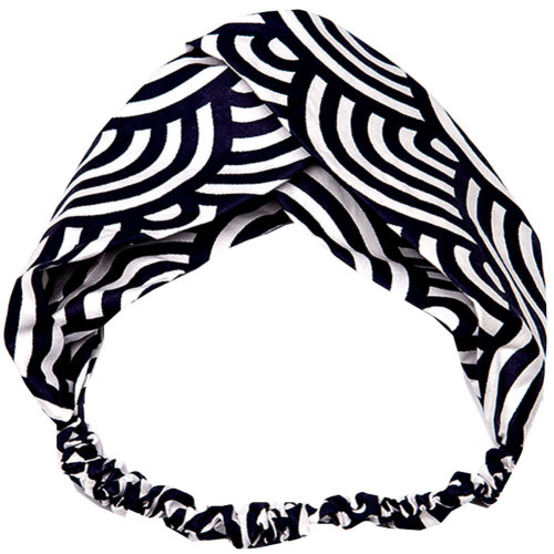 Adjustable Bow Japanese Styles Cross Hair Band Headband For Women, Black and White, #6