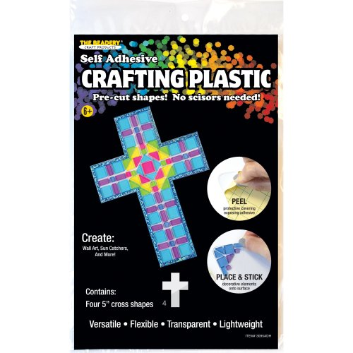 "Crafting Plastic Self-Adhesive Shapes 5"" 6/Pkg-Cross"