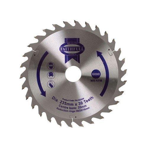 Faithfull FAIZ23530 Circular Saw Blade TCT 235 x 16/20/30/35mm x 30T General-Purpose
